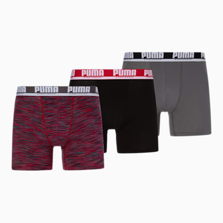 Performance Space Dyed Men's Boxer Briefs [3 Pack], BLACK / RED, small
